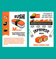 sushi menu for japanese cuisine restaurant design vector image