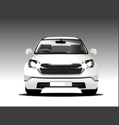 Suv white color front car vector