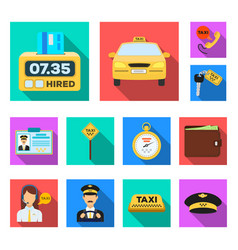 taxi service flat icons in set collection for vector image