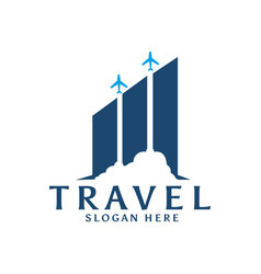Travel data diagram logo template with plane vector