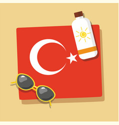 turkey travel towel in the sand with sun glasse vector image