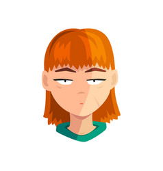 unhappy redhead girl female emotional face vector image