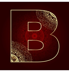 Vintage alphabet with floral swirls letter B vector