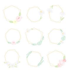 watercolor white daisy golden frame collection vector image