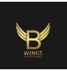 Wings B letter logo vector image