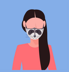 Woman wearing protective mask with raccoon face vector