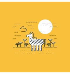 Zebra outdoor simple cartoon vector image
