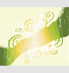 green stripes floral swirls background vector image