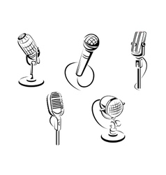 Isolated microphones vector image