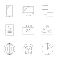 Management icons set outline style vector image vector image
