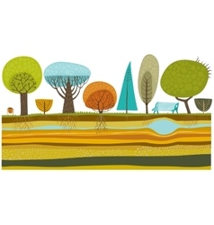 Park trees set vector image vector image