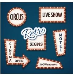 Retro neon bulb signs set Cinema live vector image vector image