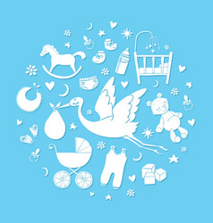 set of hand drawn elements baby boy stuff vector image