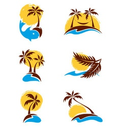 Set of logotypes - palm trees vector