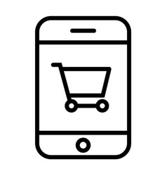smartphone with shopping cart thin line icon 48x48 vector image