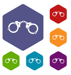 handcuffs icons set vector image