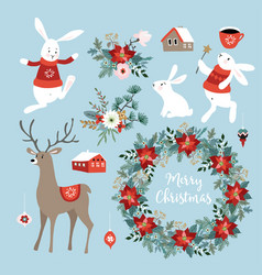 Set of cute christmas clip-arts with bunnies vector