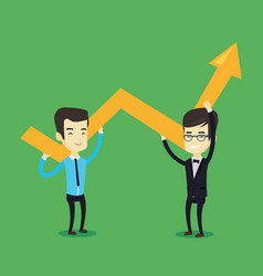 two business men holding growth graph vector image