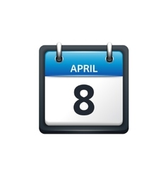 April 8 Calendar icon flat vector image