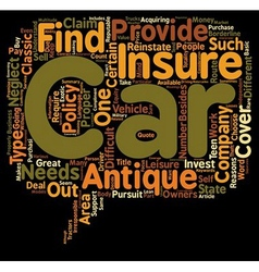 Car Insurance For An Antique Car Route To Get vector image vector image