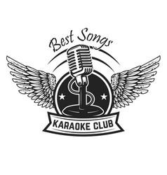 karaoke club label template emblem with vintage vector image vector image