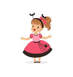 sweet little girl in halloween costume vector image