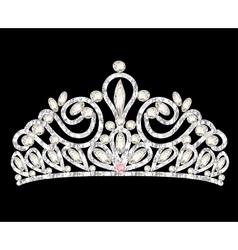 Tiara crown womens wedding with white stones vector
