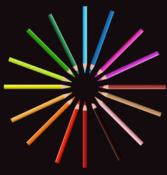 color pencil on circle position with black vector image vector image