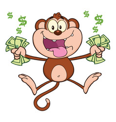 funny monkey cartoon character jumping vector image