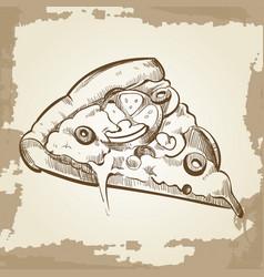 hand sketched pizza on vintage grunge background - vector image