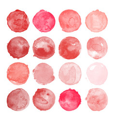 set of watercolor red pink shapes vector image