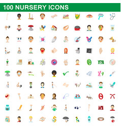 100 nursery icons set cartoon style vector