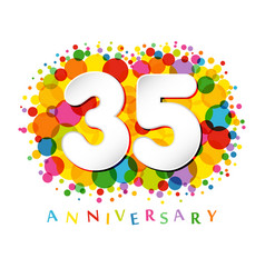 35 years anniversary paper colorful logo vector