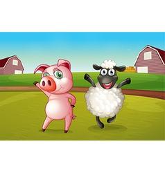 A pig and a sheep dancing at the farm vector image