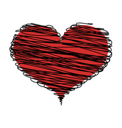 abstract red heart with black lines icon vector image