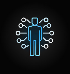 Ai man colored icon in line style on dark vector
