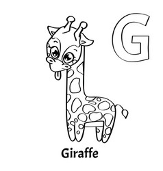 Alphabet letter g coloring page giraffe vector