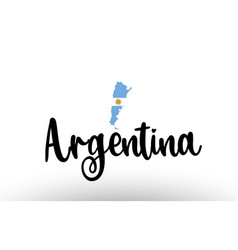 Argentina country big text with flag inside map vector