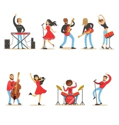 Artists Playing Music Instruments And Singing On vector