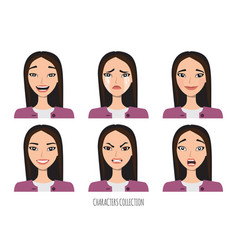 Asian woman in office suit set of emotions and vector
