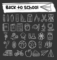 Back to school hand drawn icon set vector