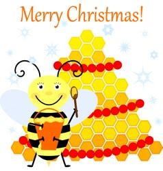 Bee and Christmas tree vector image