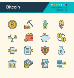 bitcoin icons filled outline design collection 37 vector image