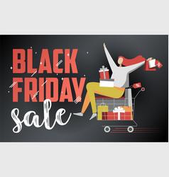 black friday sale flat on dark vector image