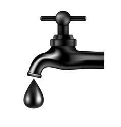 black tap with oil drop on white background vector image