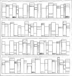 Bookshelves full books both in library vector