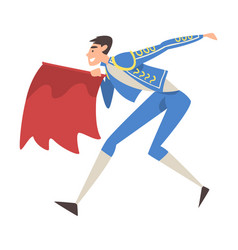Bullfighter fighting with red cape toreador vector