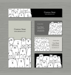 Business cards design polar bears family vector