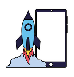 business rocket lanching on white background vector image