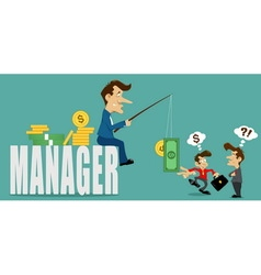 Businessman manager with deceive vector